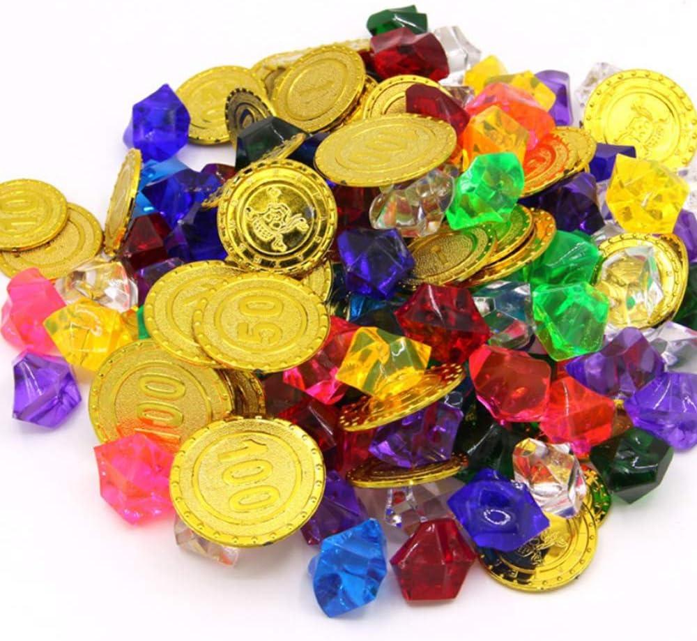 Amaoma Monedas Piratas y Piedras Preciosas Juguete 50 Piezas Monedas Juguete Piratas y 100 Piezas Piedras Preciosas Plastico Monedas de Oro Joya para Niños Fiesta Pirata Infantil Cumpleaños Regalo