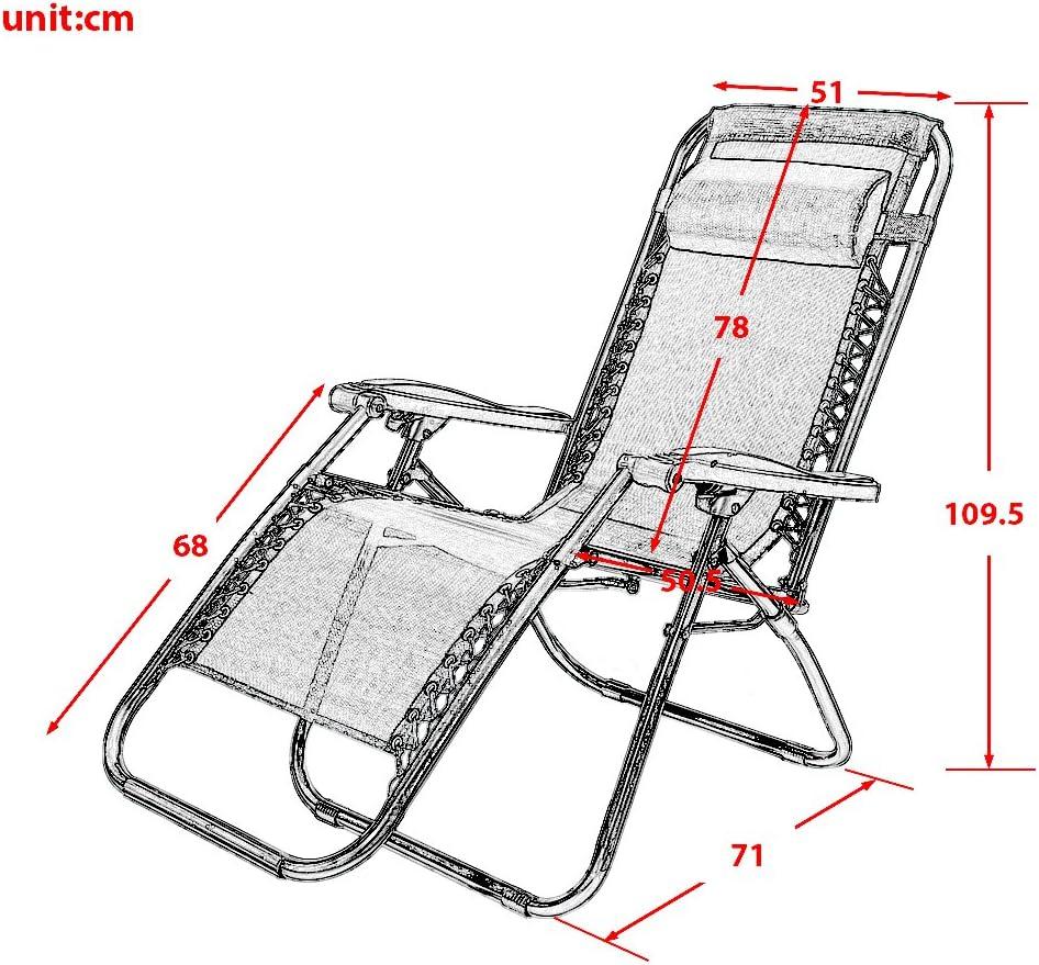 Sedia pieghevole Leisure zone/® Zero Gravity giardino sedia reclinabile da campeggio sedia a sdraio in textilene terrazza sedia reclinabile lounge