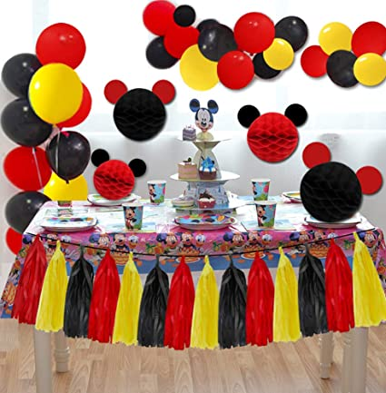 Amazoncom Mickey Mouse Party Decorations Red Yellow Black Balloons