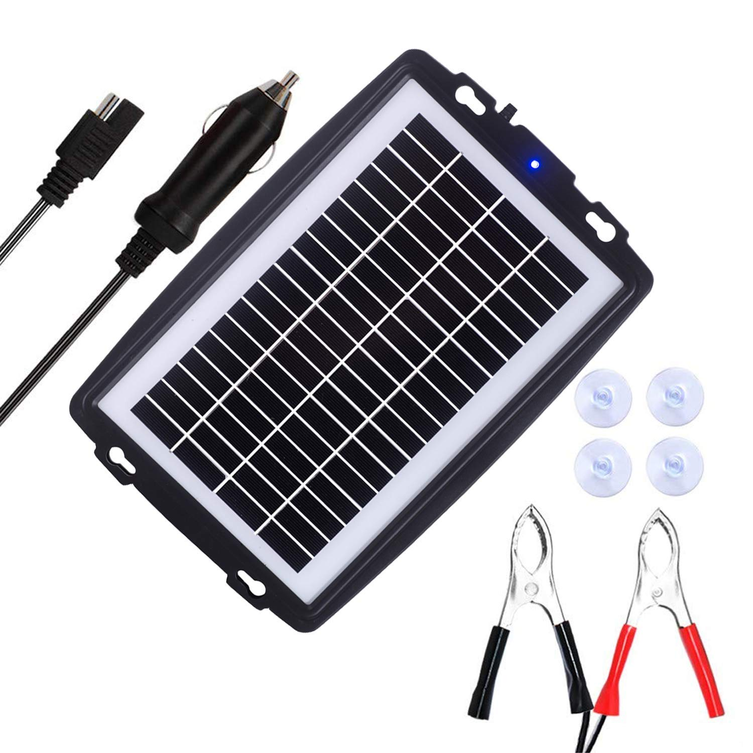 MEGSUN 10W 12V Solar Battery trickle with Plug, Battery Clip Module and Suction Cups Portable and Waterproof for Automotive, Motorcycle, Boat, RV, Powersports, Marine, Snowmobile, etc. by M MEGSUN