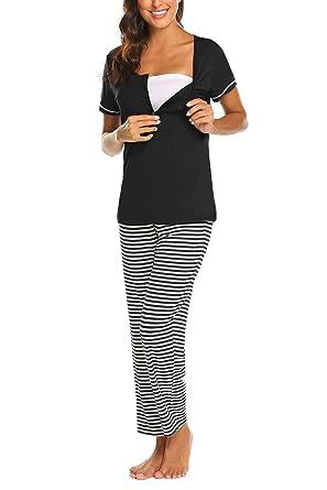 055023c1c7 MAXMODA Stillpyjama Damen Umstandspyjama Stillschlafanzug Nachtwaesche  Schlafanzüge Umstandsmode Stillnachthemd