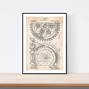 Nacnic Prints Vintage Patents Gear - Set of 1 - Unframed 11x17 inch Size - 250g Paper - Beautiful Poster Painting for Home Office Living Room