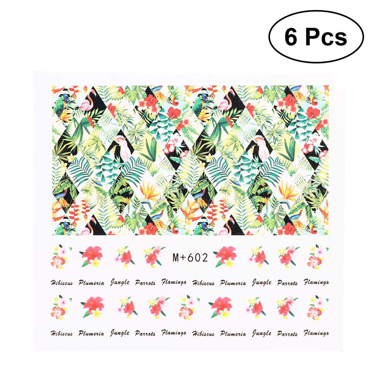 Amazon com bestoyard 6pcs cartoon hawaii design nail art sticker tip decal manicure decoration watermark nail art tip for women girls ladiesm 602 toys