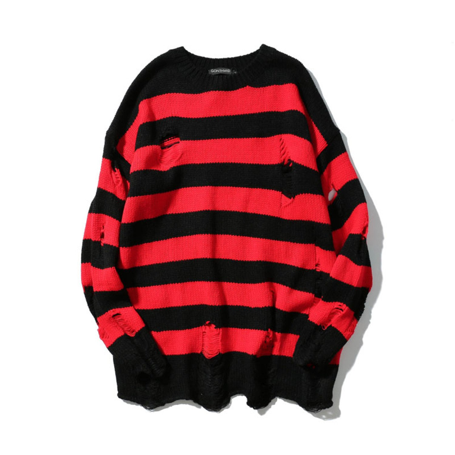 Sonjer Stripe Knit Sweaters Men Hip Hop Hole Casual Pullover Sweater Male Fashion Loose Long Sleeve Sweaters Red Black