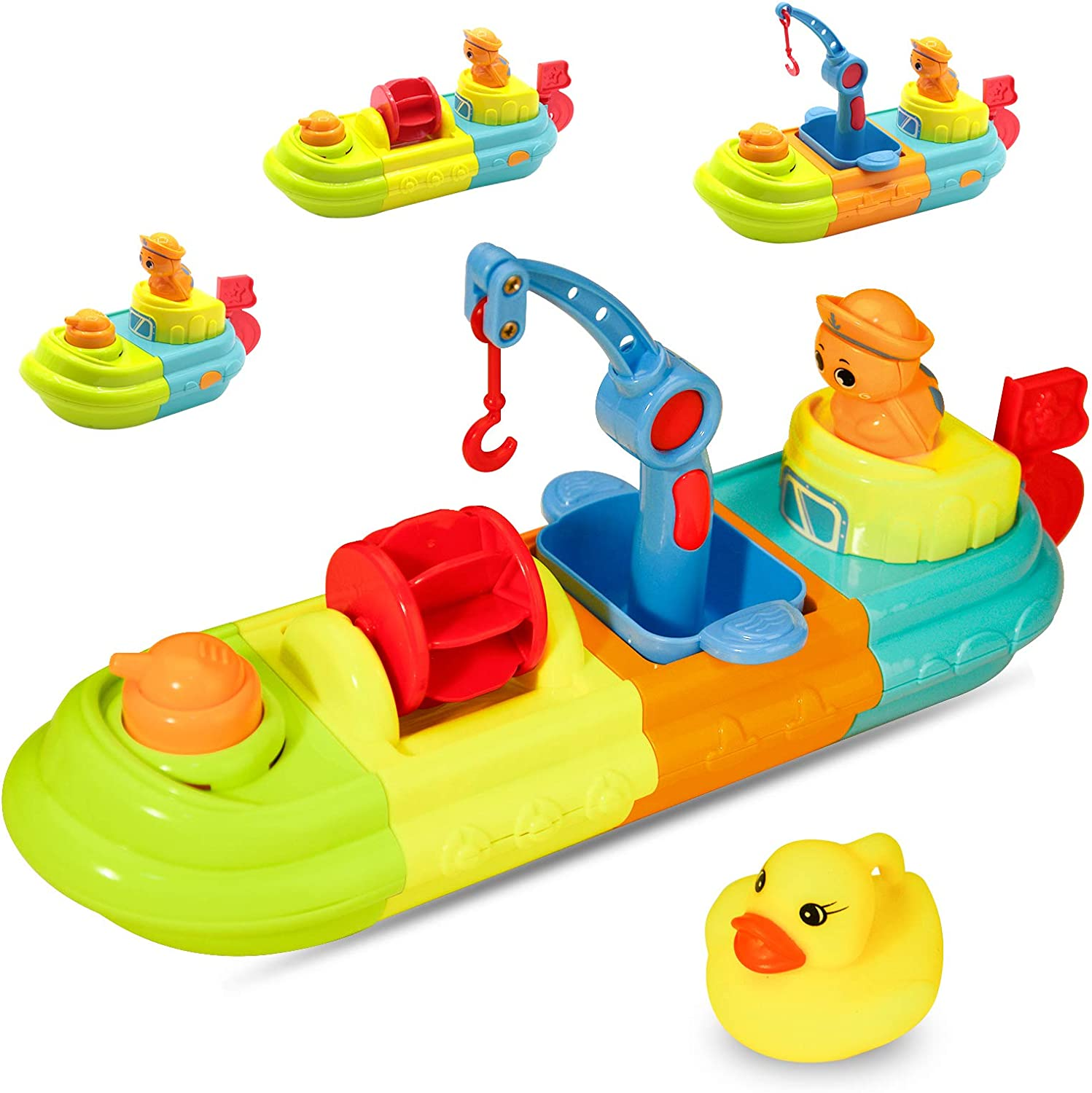 Fun Kids Bathtub Toys for Girls and Boys LBLA Baby Bath Toys for Toddlers 1-3 Wind Up Toy Boat for Water Play Spray Toys for Kids with Duck and Turtle