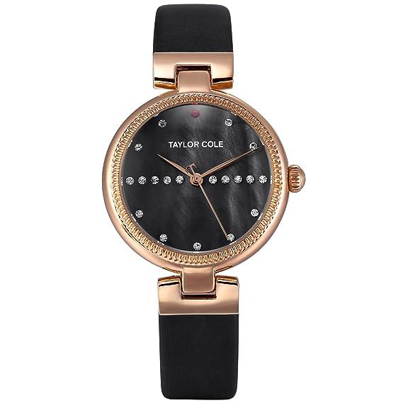 Taylor Cole Reloj Mujer de Moda con Correa de Cuero Cristal Analógico Cuarzo Reloj de pulsera
