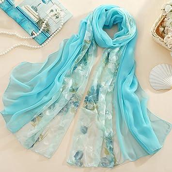 MEI Bufanda de seda bordado de impresión bufanda de seda bordada primavera salvaje bufanda larga bufanda ...