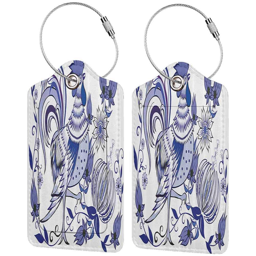 Decorative luggage tag Gallos Decor Collection Floral Pattern with Flowers and Birds Feathers Wings Leaves Ornament Folk Art Suitable for travel Cobalt Steel Blue W2.7 x L4.6