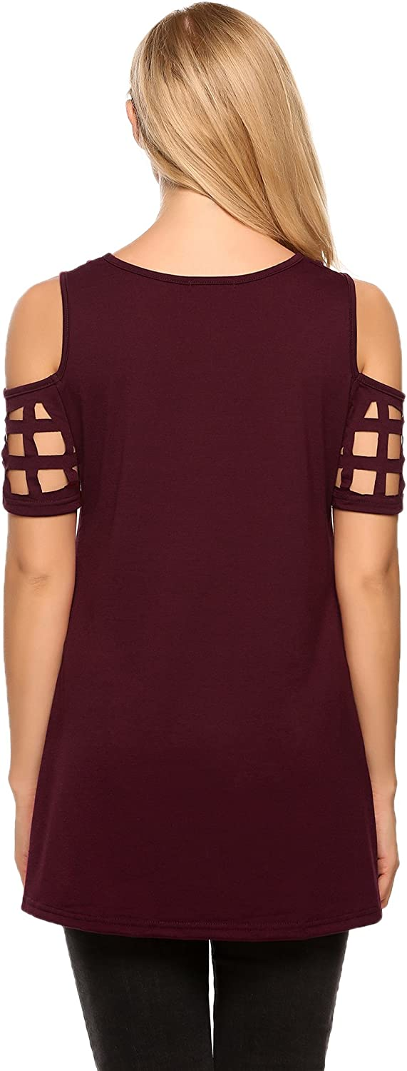 Meaneor Womens Cold Shoulder Hollow Out Short Sleeve Hem Tunic T-Shirt Tops