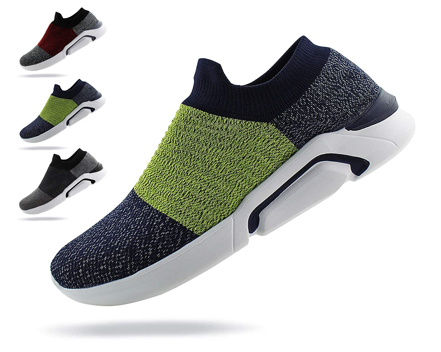 Jabasic Mens Ultra-Sock Knit Running Sneaker Breathable Athletic Slip On Walking Shoes