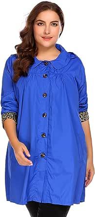 IN'VOLAND Plus Size Womens Waterproof Raincoat Lightweight Outdoor Hooded Rain Jacket Windbreaker