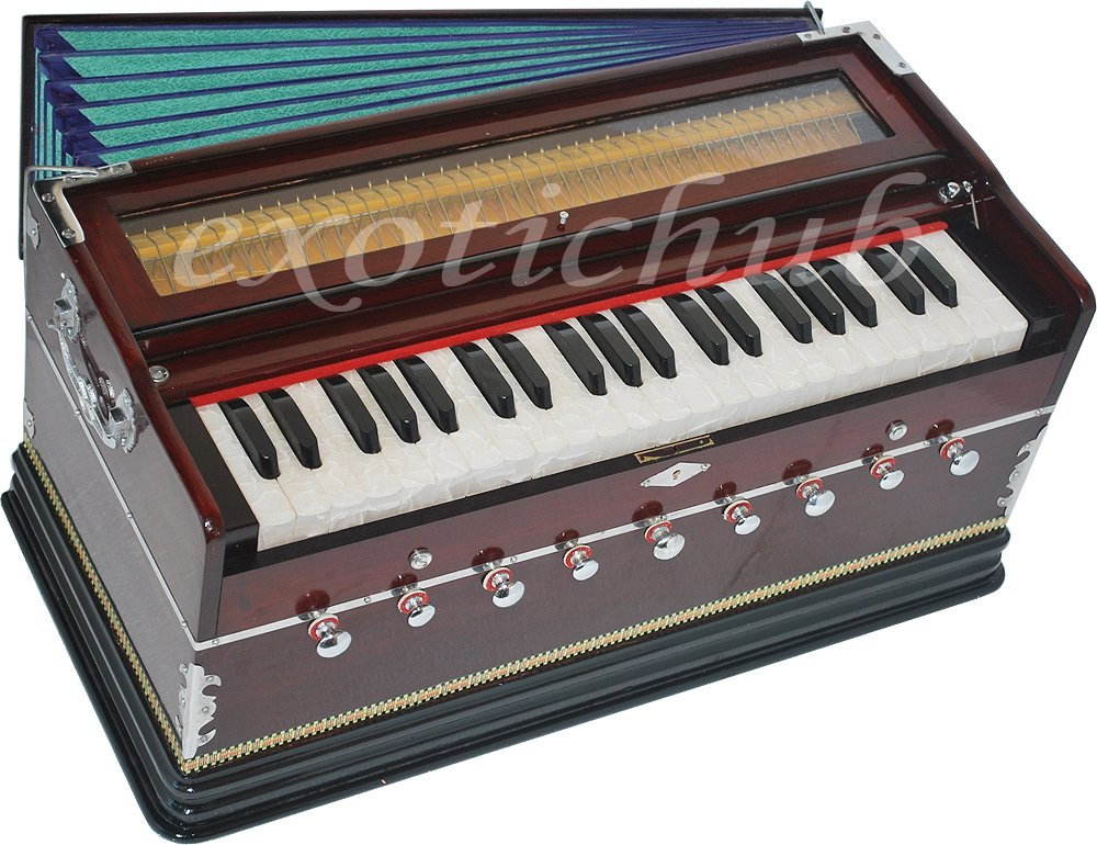 Harmonium Pro Grade By Kaayna Musicals, 9 Stops (5 Main - 4 Drone), 3½ Octaves, Double Reed, Coupler, Dark Cherry Color, Gig Bag, 440 Hz Tuned, Suitable for Yoga, Bhajan, Kirtan, Shruti, Mantra etc