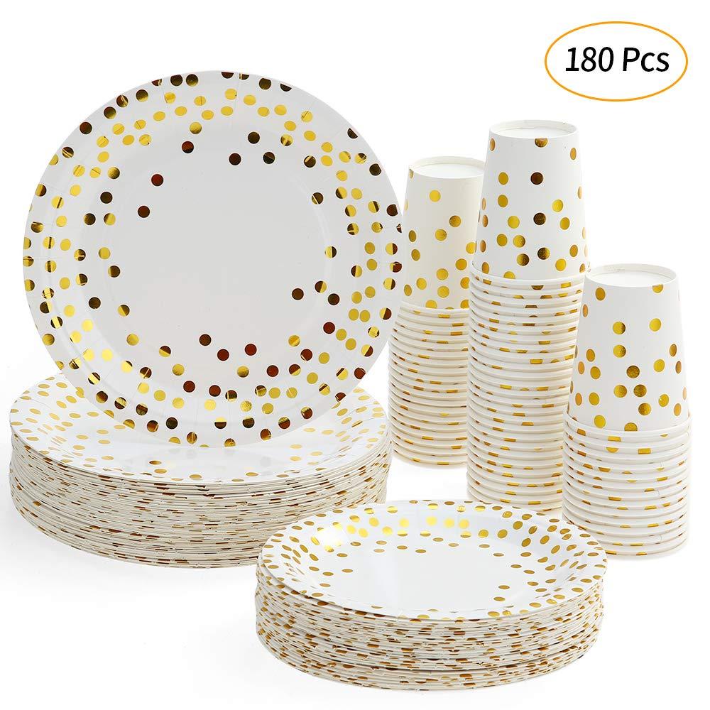 esonmus 60PCS Bicchieri di Carta + 60PCS Piatti 17,8 cm + 60PCS Set di Piatti 22,9 cm, 180PCS in totale