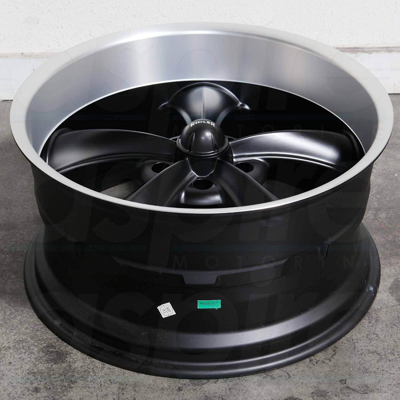 22 x 9. inches //5 x 115 mm, 15 mm Offset RIDLER 695 MATTE BLACK//MACHINED LIP Wheel