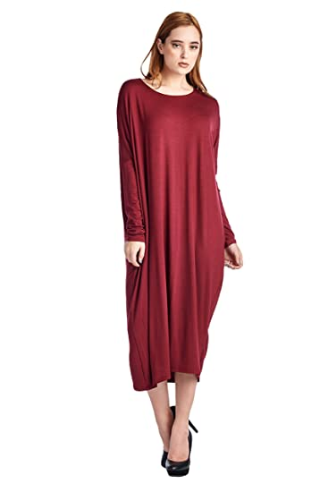 82 Days Women'S Rayon Span Long Sleeves Butterfly Fit Jersey Dress - Wine M