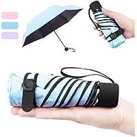 NASUM Mini Paraguas Pequeño del Sol Plegable para Mujeres Portátil Longitud 17 Centímetros 6 Costillas Grueso Negro Tela de Goma Anti Ultravioleta y Viento para Actividades al Aire Libre