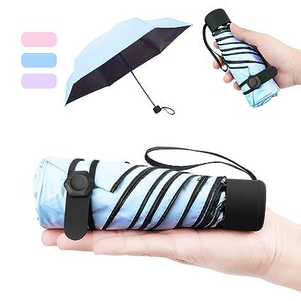 NASUM Mini Paraguas Pequeño del Sol Plegable para Mujeres Portátil Longitud 17 Centímetros 6 Costillas Grueso