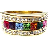 Ah! Jewellery® Free Engraving! Women's High End Multi Colour Designer Ring. 9mm Wide Rainbow Crystal Colour Band. 3 x 3mm Swarovski Elements Crystals & an Assortment of Brilliant Rounds. Gold Filled.