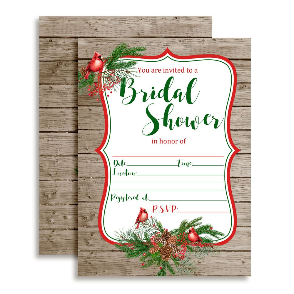 Rustic Cardinal and Pine Bridal Shower Invitations 20 5x7 Fill in Cards with Twenty White Envelopes by AmandaCreation