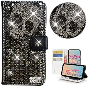 STENES Bling Wallet Phone Case Compatible with Samsung Galaxy J2 Dash - Stylish - 3D Handmade Punk Skull Glitter Design Flip Leather Cover Case - Black