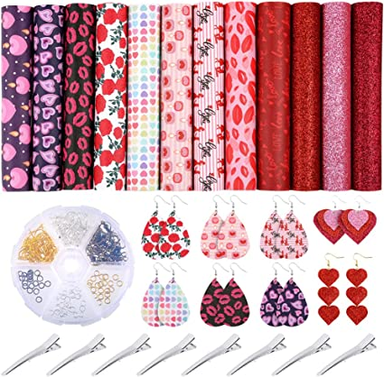 6.3inch x 8.3inch Caydo 12 Pieces Love Heart Pattern Printed Faux Leather Sheets for Valentines Day Making Hair Bows Earrings and Bags Crafting