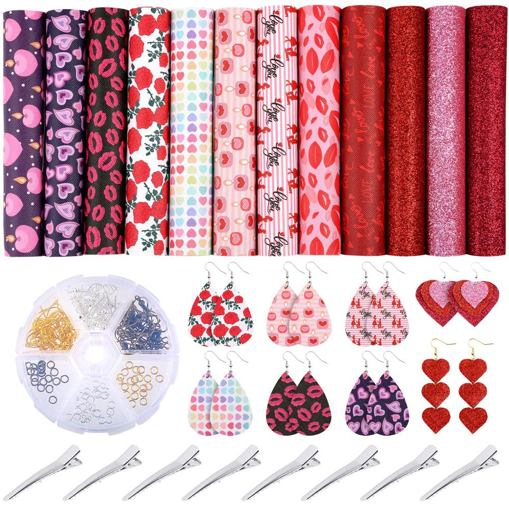 8.3 x 6.3 Inch 15 Pieces Valentines Day Faux Leather Sheets Heart Printed Faux Leather Fabric Light Glitter Assorted Love Leather Sheets for Making Earrings Hair Bows