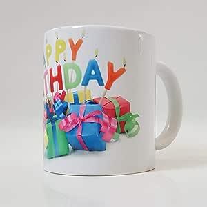 White Ceramic Mug with Happy Birthday design