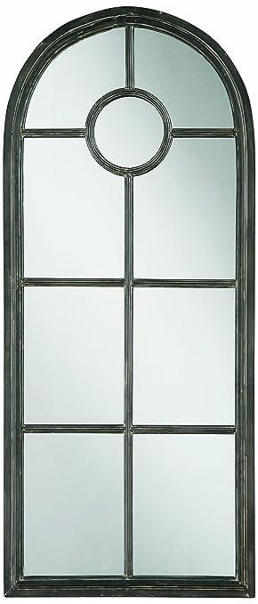 Amazon.com: Creative Co-Op Metal Window Pane Framed Mirror, Black ...