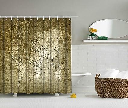 Amazon Com Klolkutta Brown World Map Shower Curtain Fashionable