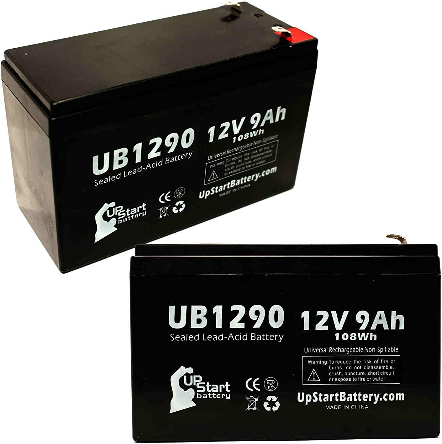 2-Pack UB1290 Universal Sealed Lead Acid Battery (12V, 9Ah, F1 Terminal, AGM, SLA) Replacement - Compatible