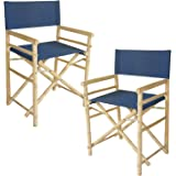 Zew Hand Crafted Foldable Bamboo Directoru0027s Chair With Treated Comfortable  Canvas, Set Of 2 Folding