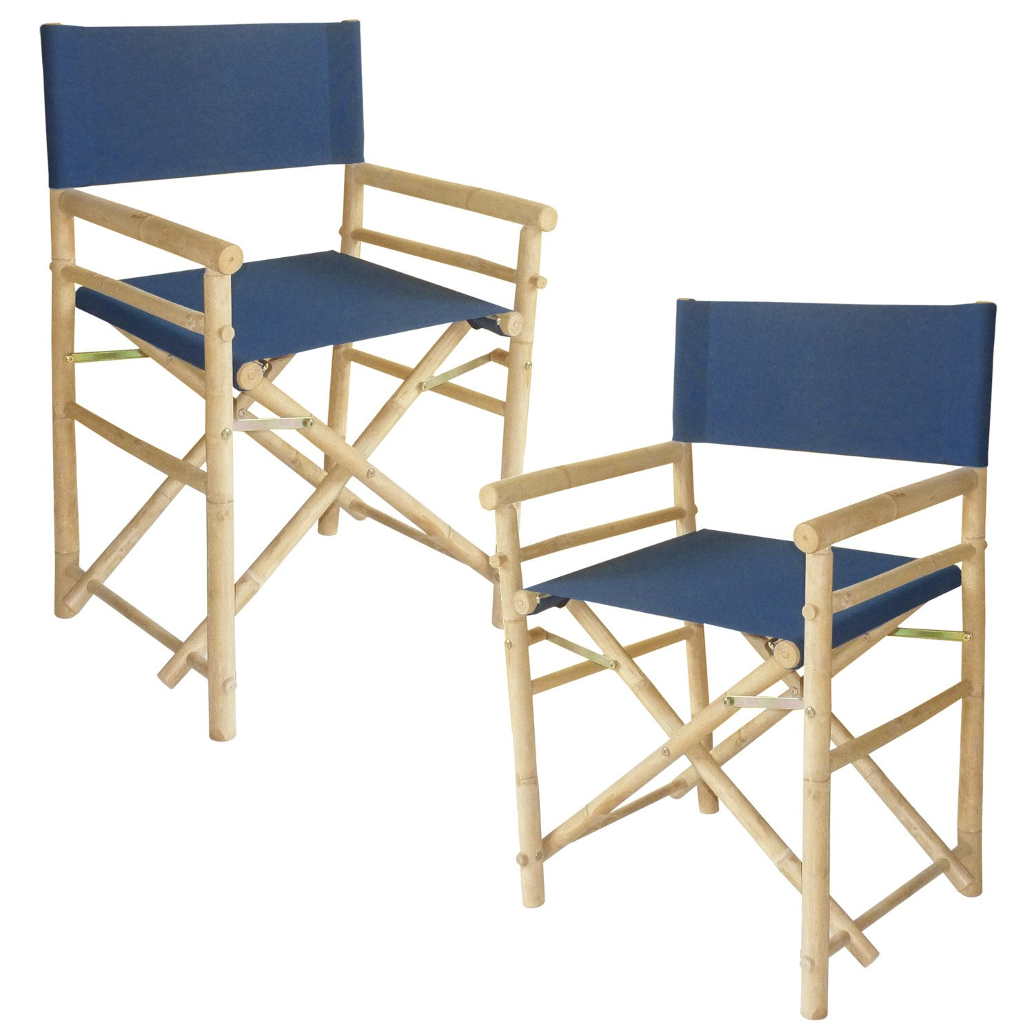 Zew Hand Crafted Foldable Bamboo Director's Chair with Treated Comfortable Canvas, Set of 2 Folding Chairs, Blue