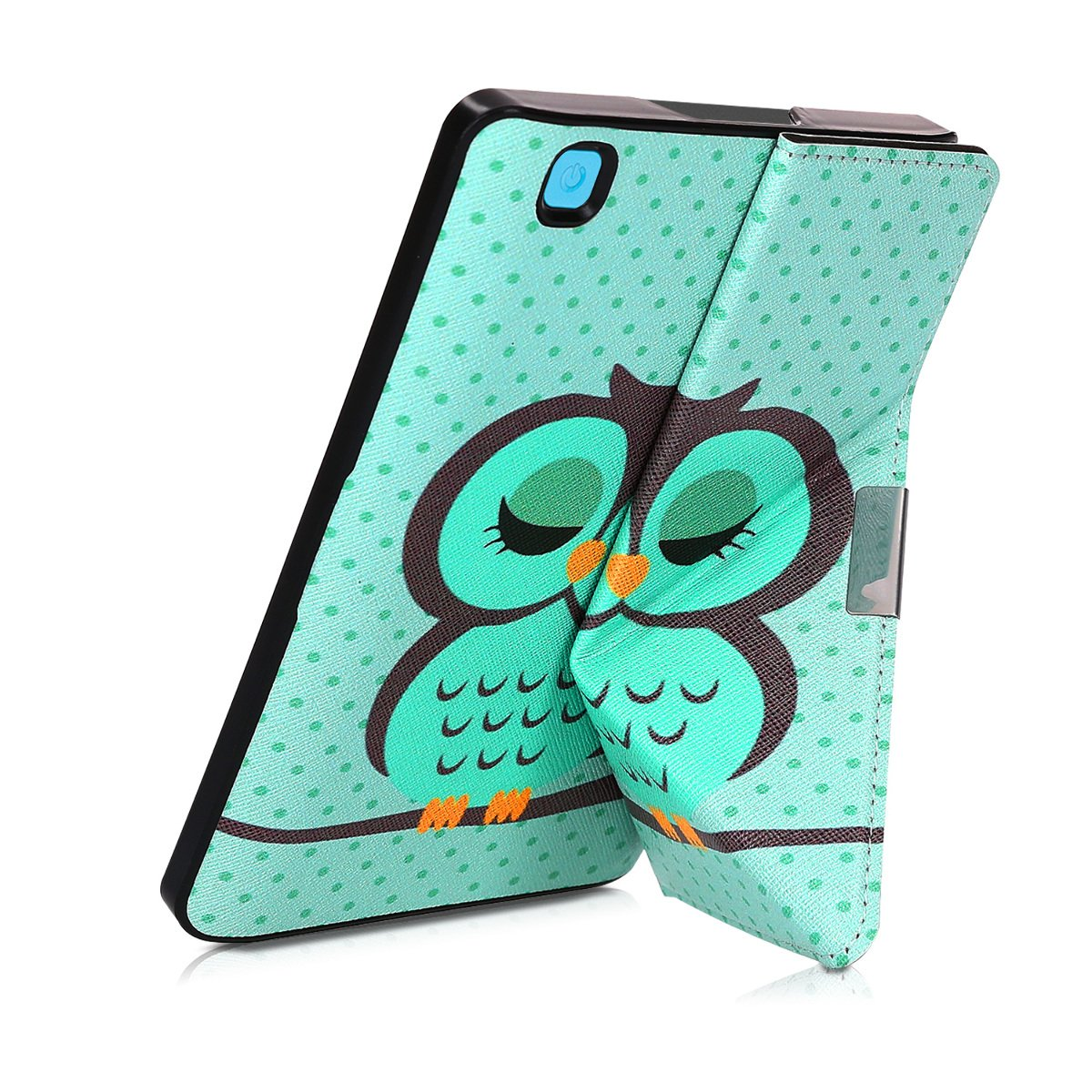 kwmobile Cover case for Kobo Aura Edition 2 with stand - Ultra slim case made of synthetic leather Sleeping Owl in turquoise brown mint by kwmobile (Image #6)