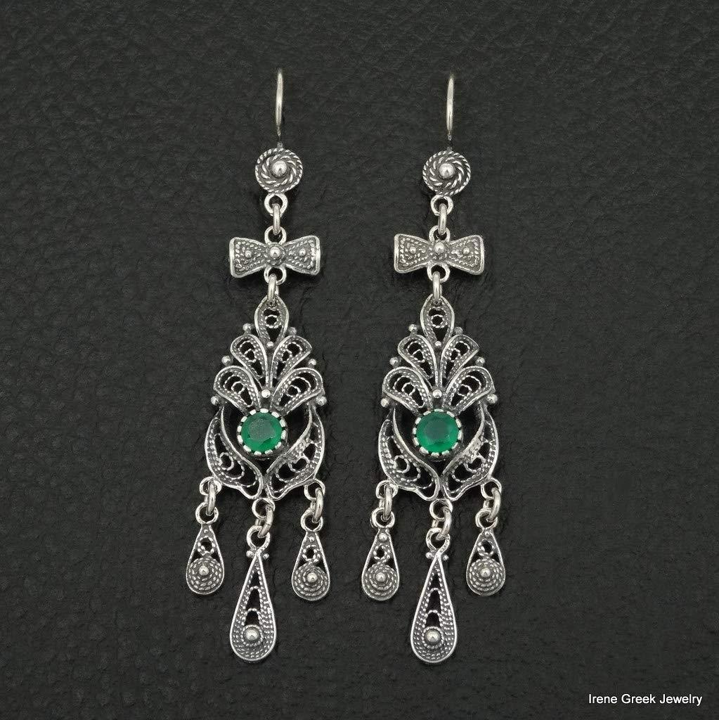 Natural Green Onyx Earrings Filigree Style 925 Sterling Silver Greeek Art Handmade