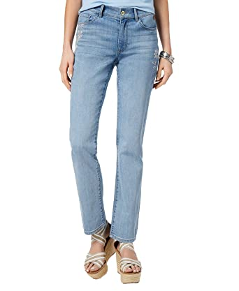 45842d88f Tommy Hilfiger Embroidered Straight-Leg Jeans (Rain Wash, 2) at Amazon Women's  Jeans store