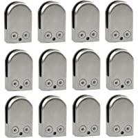 Abrazaderas de vidrio 8 unidades, acero inoxidable, 304 clips, soporte de vidrio ajustable, parte trasera plana para barandilla de escaleras de balaustrada Runsabay 10 a 12 mm