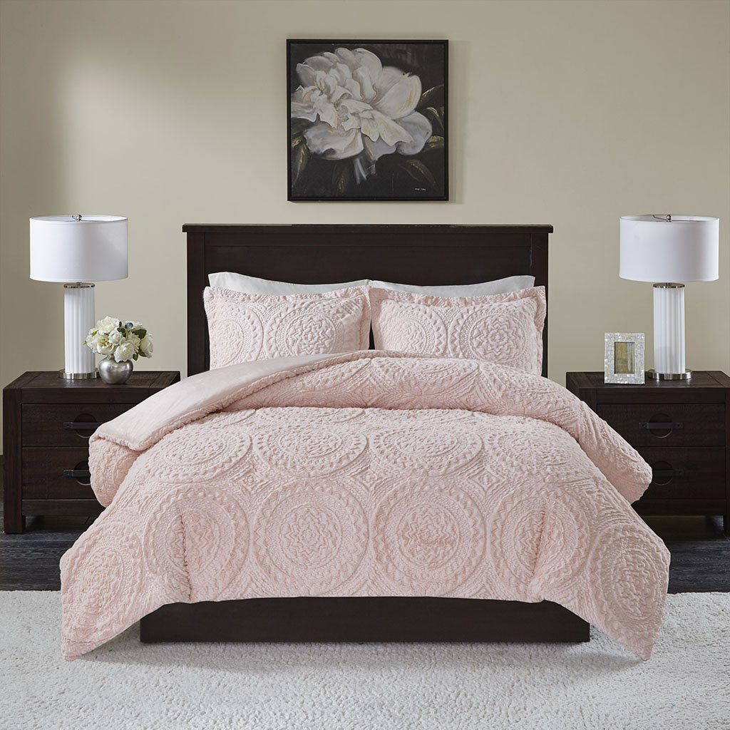 Madison Park Arya Medallion Pattern Ultra Soft Luxury Premium Plush Comforter Mini Set, Full/Queen, Blush