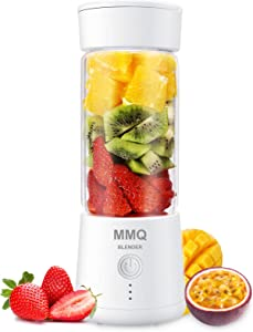 Portable Blender, MMQ Personal Size Glass Juicer Cup, Fruit Shake, Smoothies Mixer with 2000mAh USB Rechargeable Battery, 3D Six Blades, 410ML (White)
