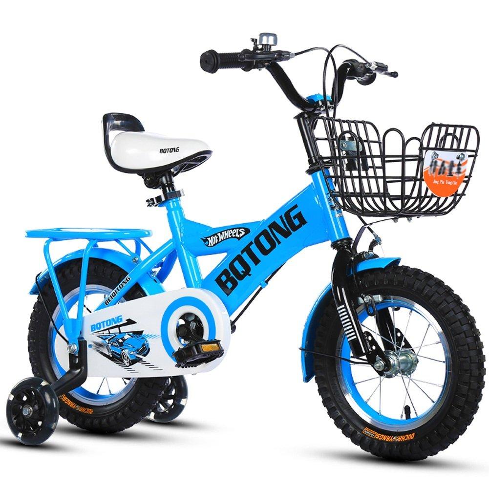 【良好品】 CHS@ 子供の自転車バイクの自転車2-4-6歳のサイクリング12-14-16-18インチの男の子と女の子後部座席を持つフットベビーカー 子ども用自転車 (色 : CHS@ 青, さいず サイズ さいず 青, : 16