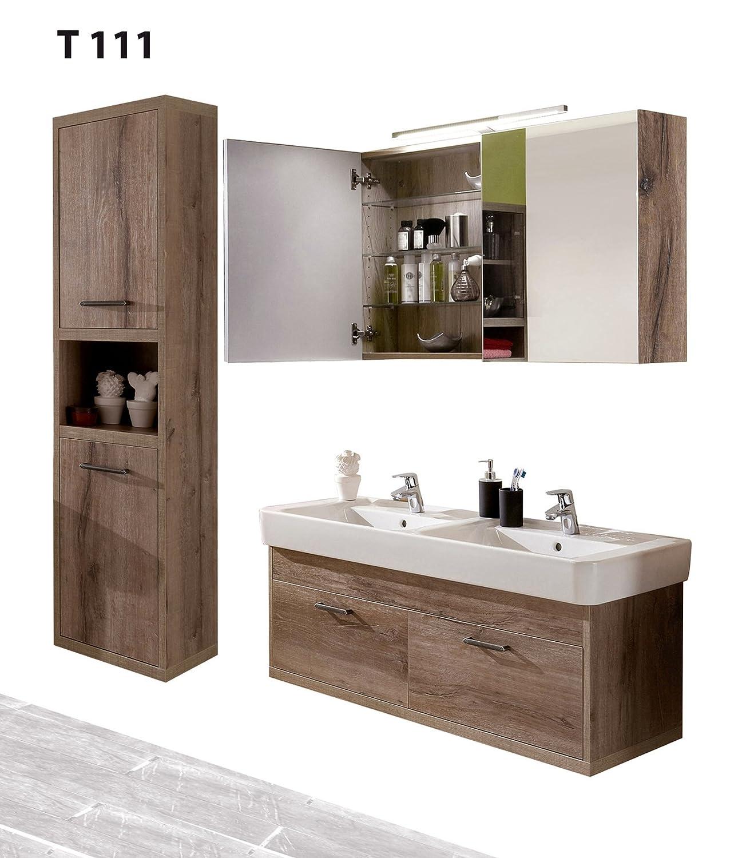 Badserie TIMBERY T111, Waschtisch, Spiegelschrank u. Hochschrank in Schloß Eiche