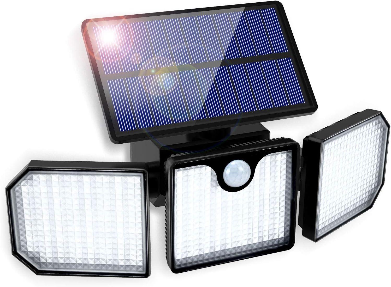 Luz Solar Exterior GolWof 230LED 3 Cabezas Lampara Solar Exterior con Sensor de Movimiento 270º lluminación Foco Solar Exterior Potente IP65 Impermeable para Frente Jardin Garaje Camino Patio