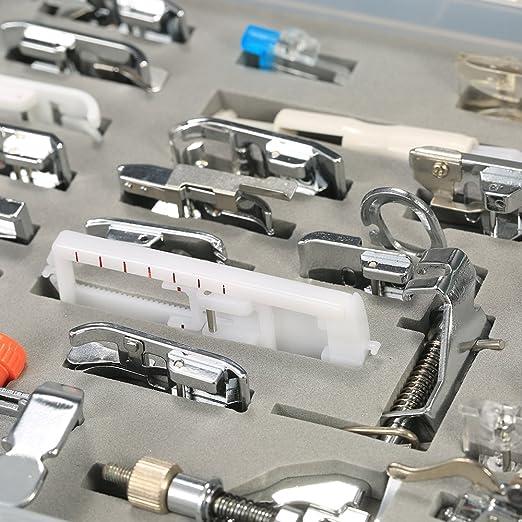 Decdeal - 52 piezas de prensatelas profesional para máquina de coser doméstica, accesorios con caja de plástico: Amazon.es: Hogar