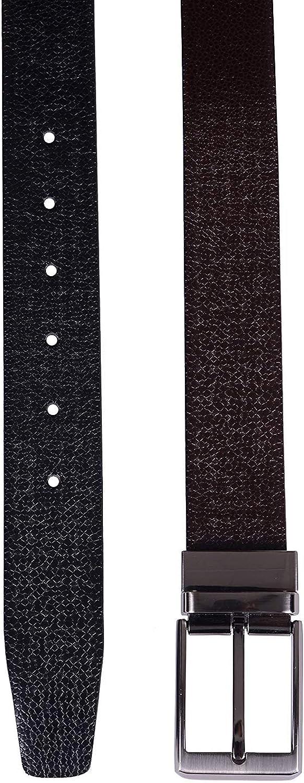 Black//Brown HiLEDER Mens 100/% Pure Genuine Leather Reversible Buckle Belt Italian Viper Print Casual