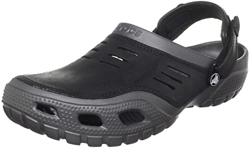 ed456a0069a1 crocs Men s Yukon Sport Graphite and Black Leather Clogs and Mules - M15   Buy Online at Low Prices in India - Amazon.in