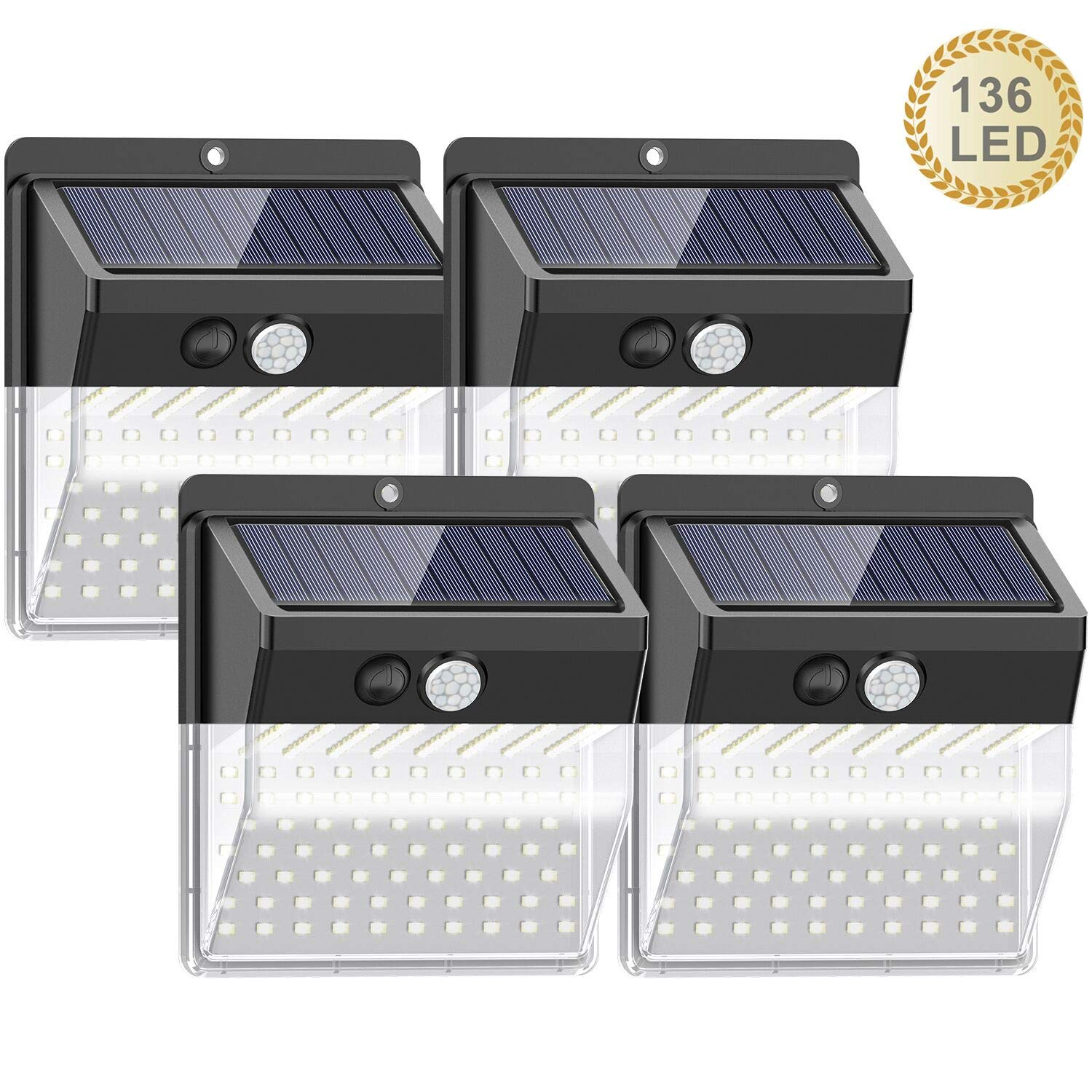 【136 LED New Version】Solar Lights Outdoor, SEZAC Solar Security Outdoor Lights 270° Wide Angle Lighting Solar Motion Sensor Lights Wireless Waterproof for Yard, Garage, Deck, Pathway, Porch (4 Pack)