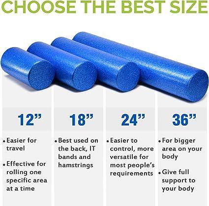 24 inch, Blue Yes4All EPP Exercise Foam Roller Best for Flexibility and Rehab Exercises Extra Firm High Density Foam Roller