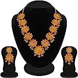 Apara Bahubali Design Gold Plated Floral 3D Necklace Set for Women/Girls