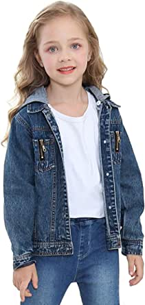 Girls Jean Jackets with Lace and Hooded Denim Jackets for Boys and Girls