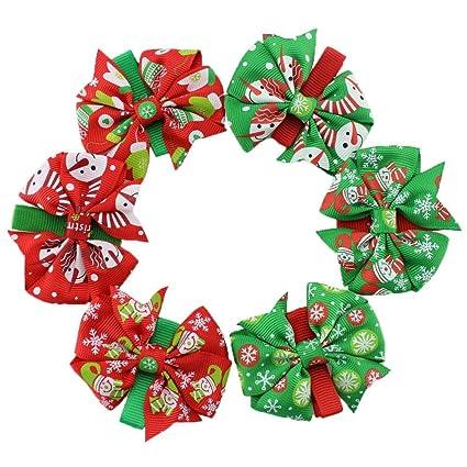 Leegoal (TM) Navidad Lazos para el pelo lazo Alligator Clips ...