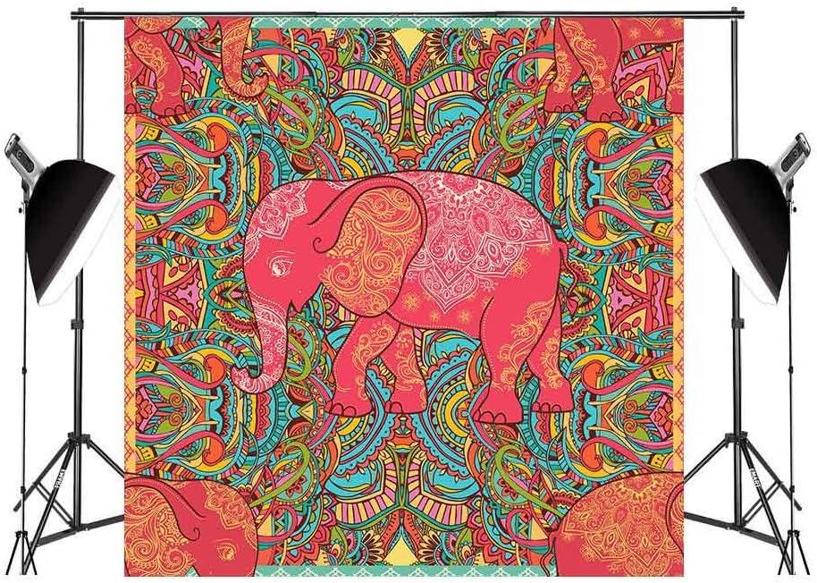 FUERMOR 10x10ft Elephant Pattern Photography Backdrop Studio Props Room Wall Mural GEFU166